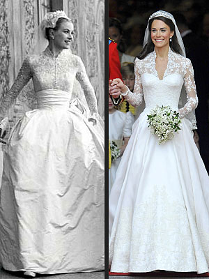 People.com shows a comparison between Kate's dress and Grace Kelly's wedding dress (Credit: Reuters/Landov)