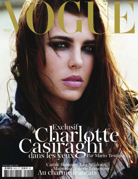 Charlotte Casiraghi on the cover of September Vogue Paris