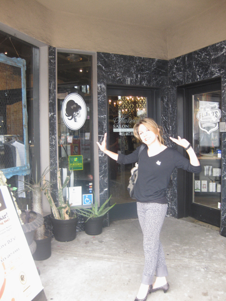 Janine Jarman in front of the Hairroin Salon