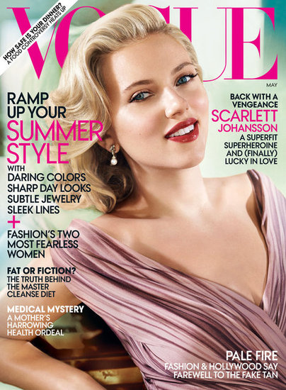 Scarlett Johansson on Vogue cover for May 2012 photographed by Mario Testino