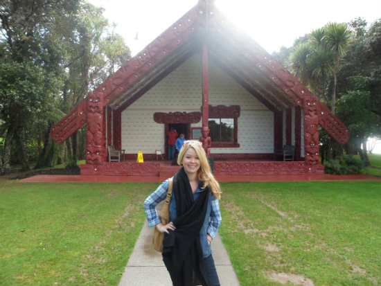 In front of the Treaty House at the Waitangi Treaty Grounds