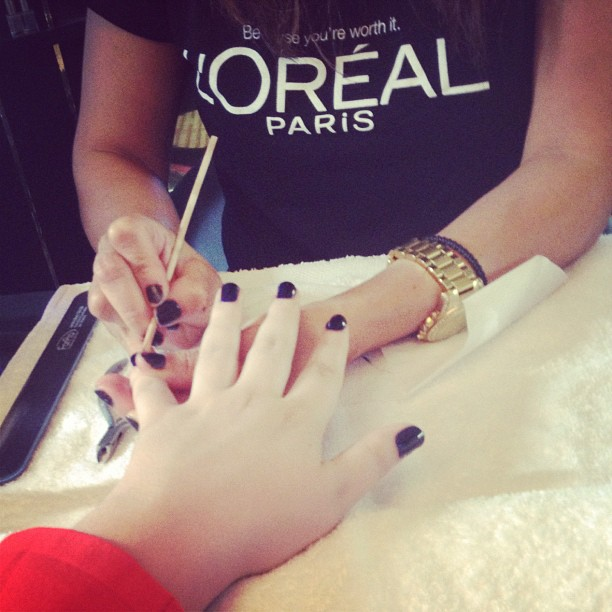 Manicure using L'Oreal's After Hours Nail Polish