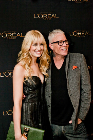 Beth Behrs and L'Oreal makeup artist Billy B.