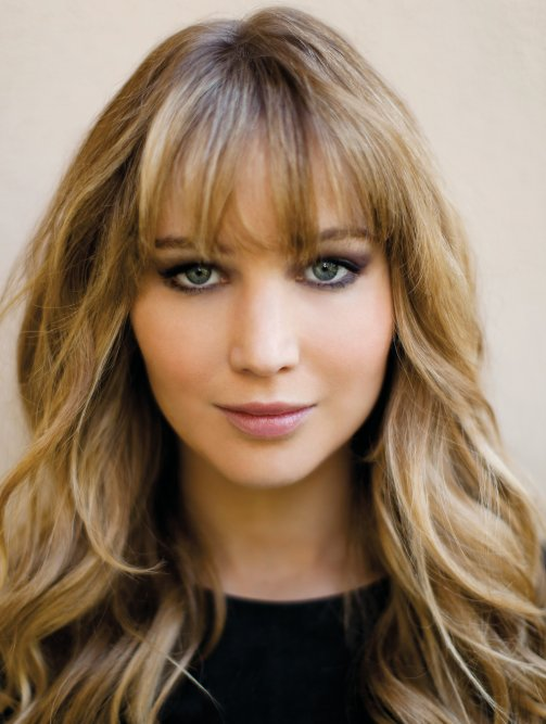 Jennifer Lawrence with blonde bangs