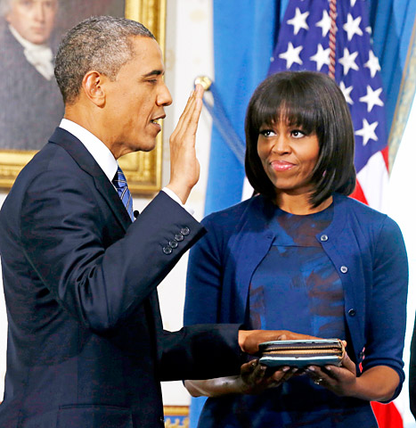 Michelle Obama bangs at the Inauguration