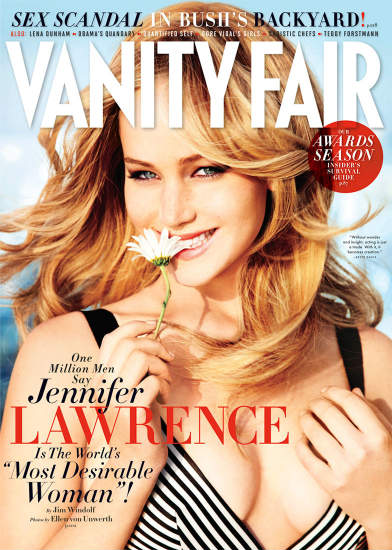Jennifer Lawrence on the cover of Vanity Fair, photographed by Ellen von Unwerth
