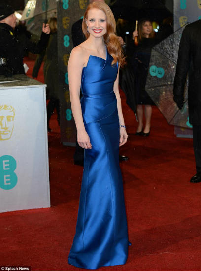 Jessica Chastain in blue Roland Mouret at the BAFTAs awards