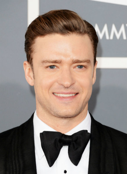 Justin Timberlake's straight hair at the 2013 Grammy's