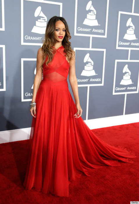 Rihanna in red Azzedine Alaia at the 2013 Grammys