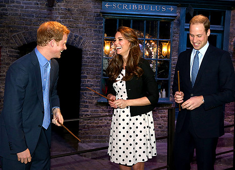 Prince William, Prince Harry and Duchess Kate Middleton at Hogwarts