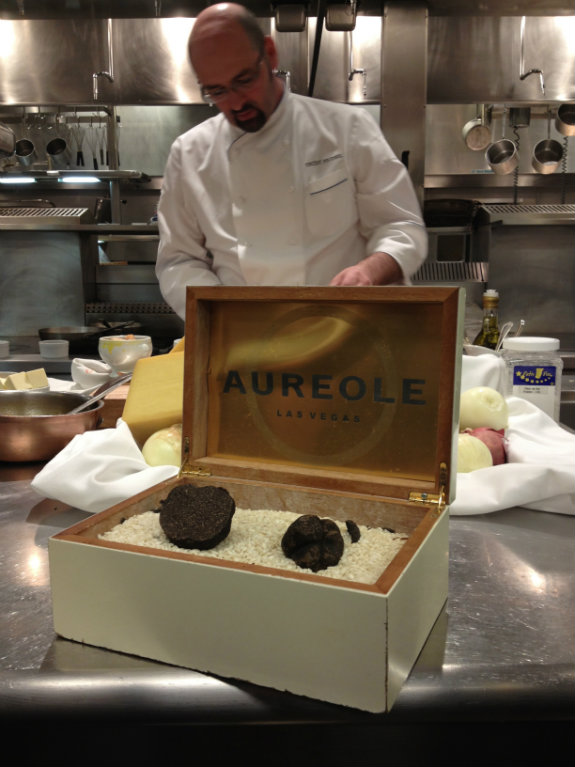 Learning how to make Charlie Palmer's famous French Onion Soup in the kitchen of Aureole Las Vegas