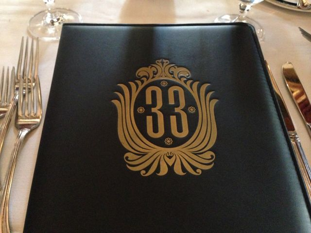Club 33 Disneyland menu