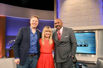 Erik and Nadine from Newlyweds on Bravo on the Steve Harvey show