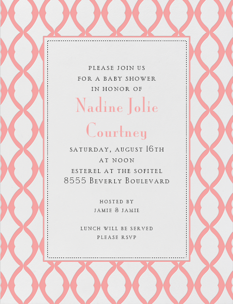 Nadine Jolie Courtney Baby Shower invite at Esterel