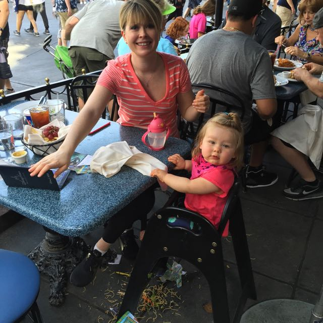 This is what lunch at Disneyland looks like with a baby
